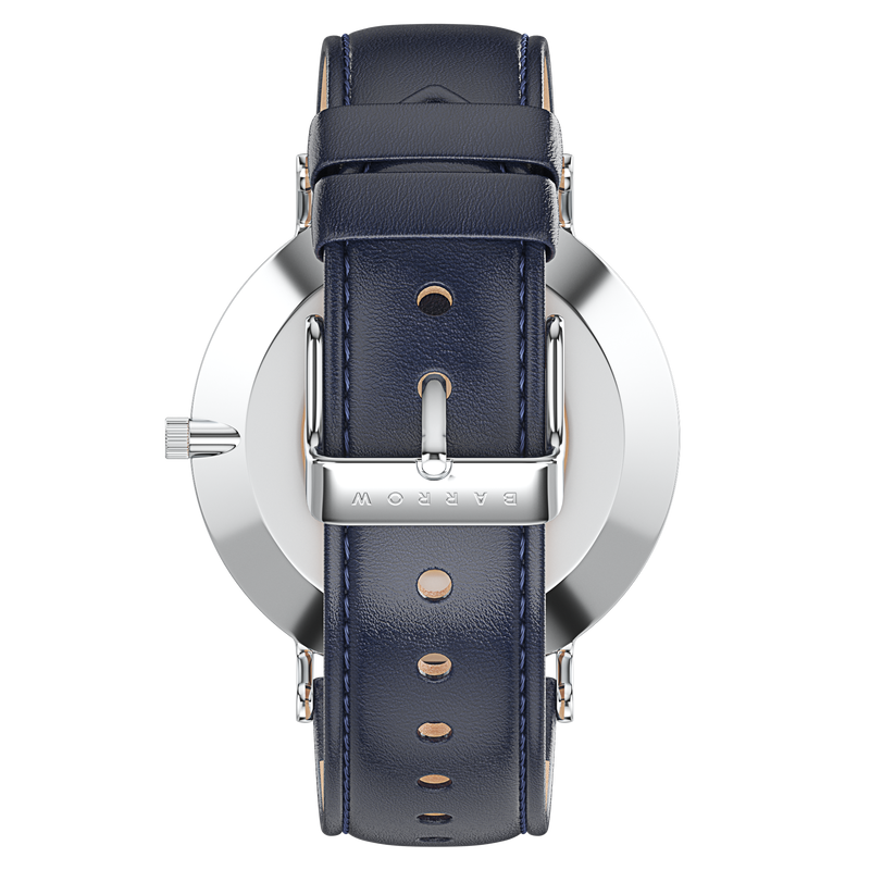 silver watch with navy watch strap reverse view