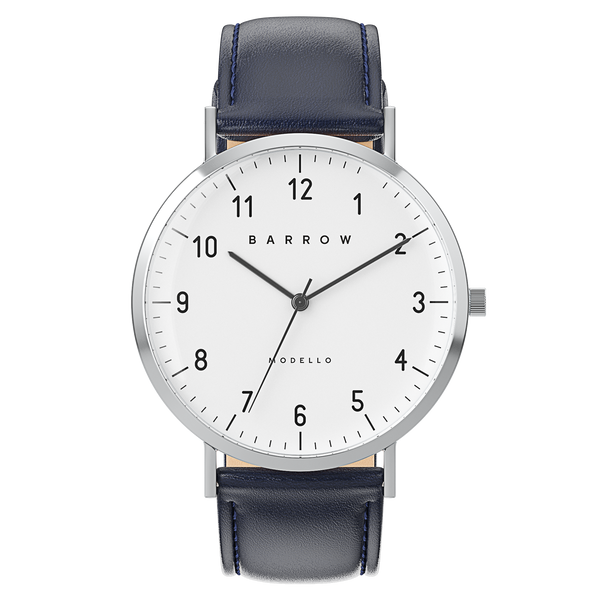 silver watch with navy watch strap