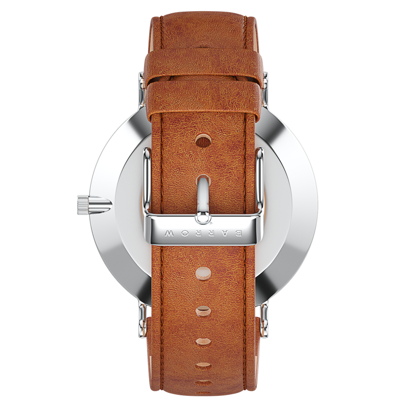 silver watch with tan watch strap reverse view