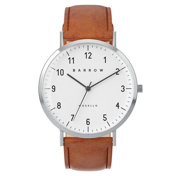 silver watch with tan watch strap