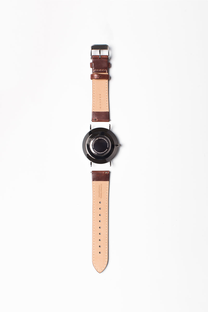 Italian leather watch strap, reverse view
