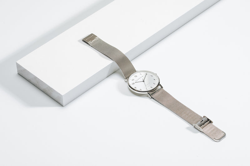 Petite Steel Watch | Tan Leather + Mesh
