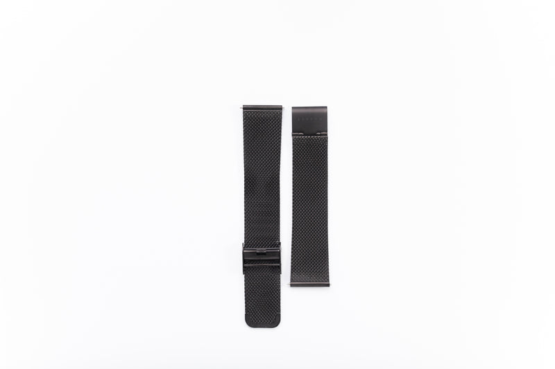 Modello Black Stainless Steel Mesh Watch Strap - 20mm