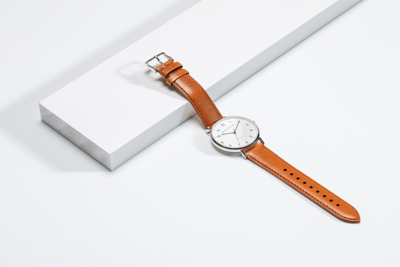 Modello, Steel Watch | Tan Leather + Mesh