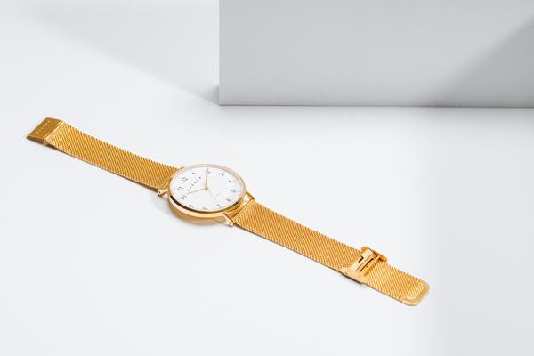 Petite Gold Watch | Navy Leather + Mesh