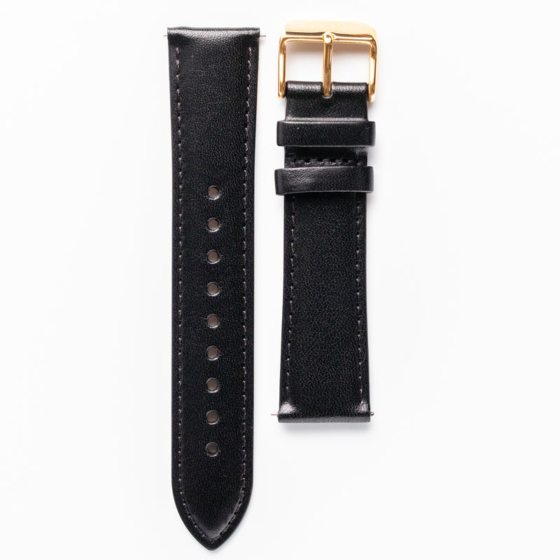 Black vegetable tanned leather watch strap