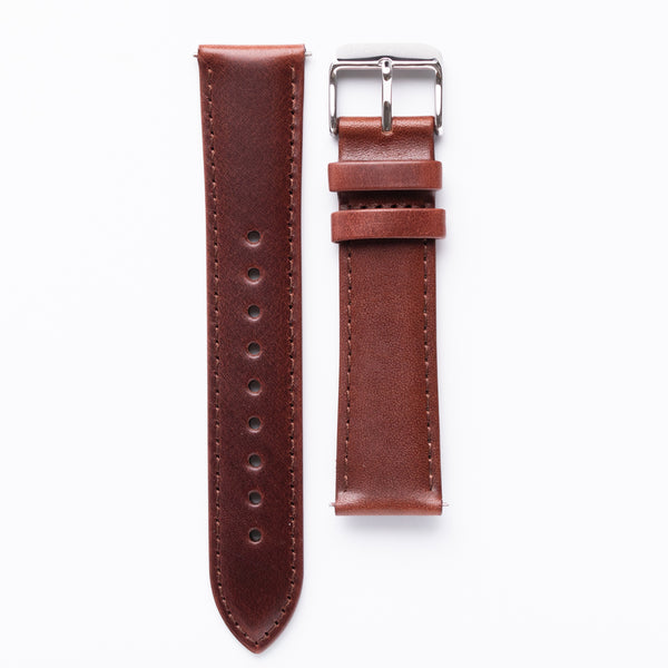 Deep brown vegetable tanned leather watch strap