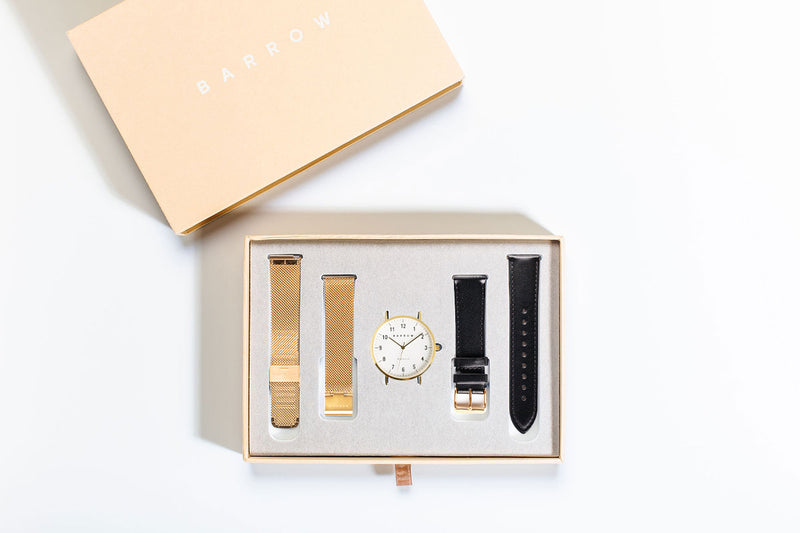 watch in box with two watch straps