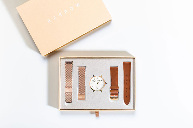 Petite Rose Watch | Tan Leather + Mesh