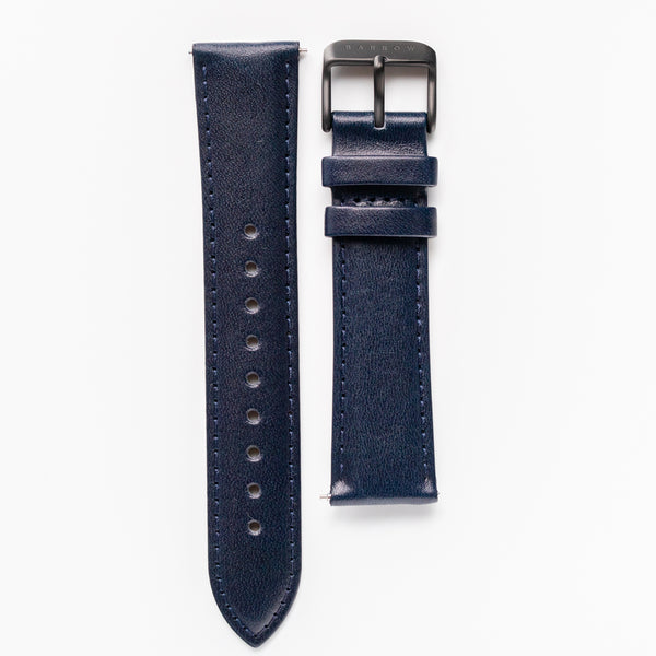 Navy vegetable tanned leather watch strap