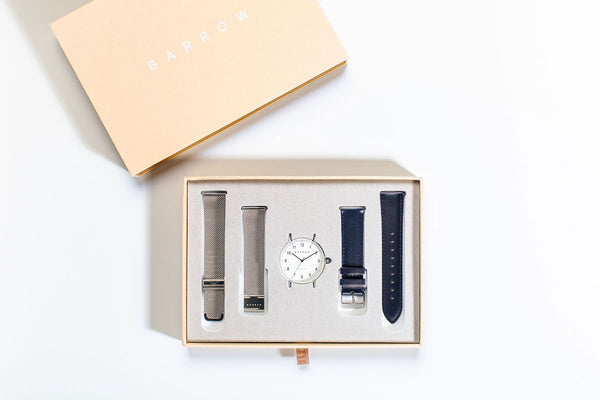 Navy and Silver Barrow watch in box