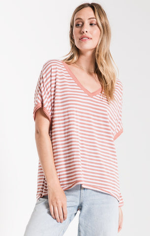 STRIPED BOYFRIEND TEE V-NECK