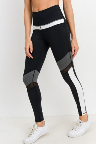 Highwaist Colorblock Mesh Leggings