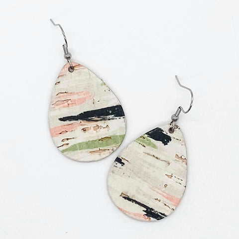 Coral/Green/Black Swatch Cork Earrings