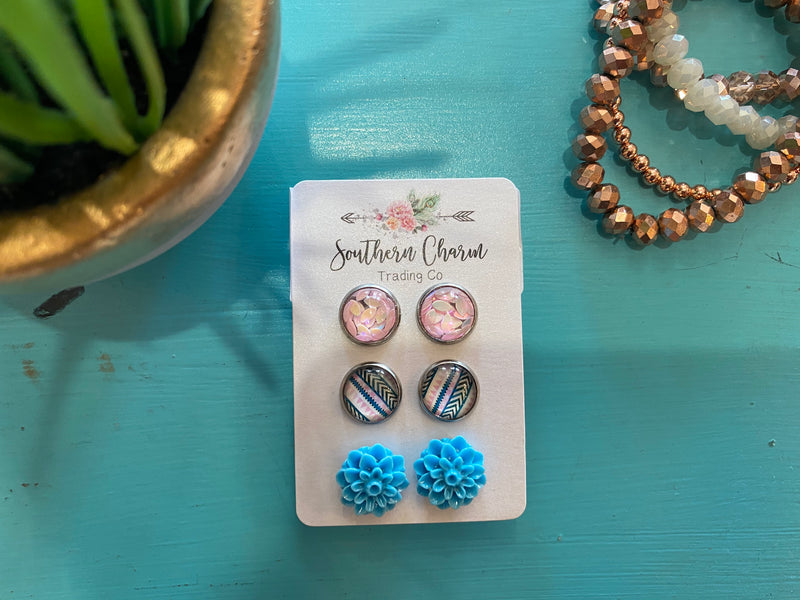Blue Flower Earring Set