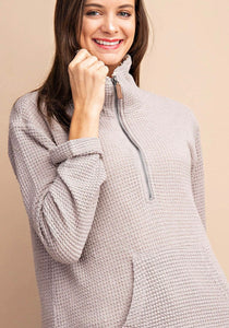 Textured Knit Top w/front zipper