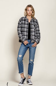 Fleece Twill Plaid Button Down Jacket