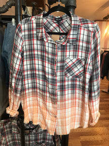 Sophia Dipped Plaid Button Down