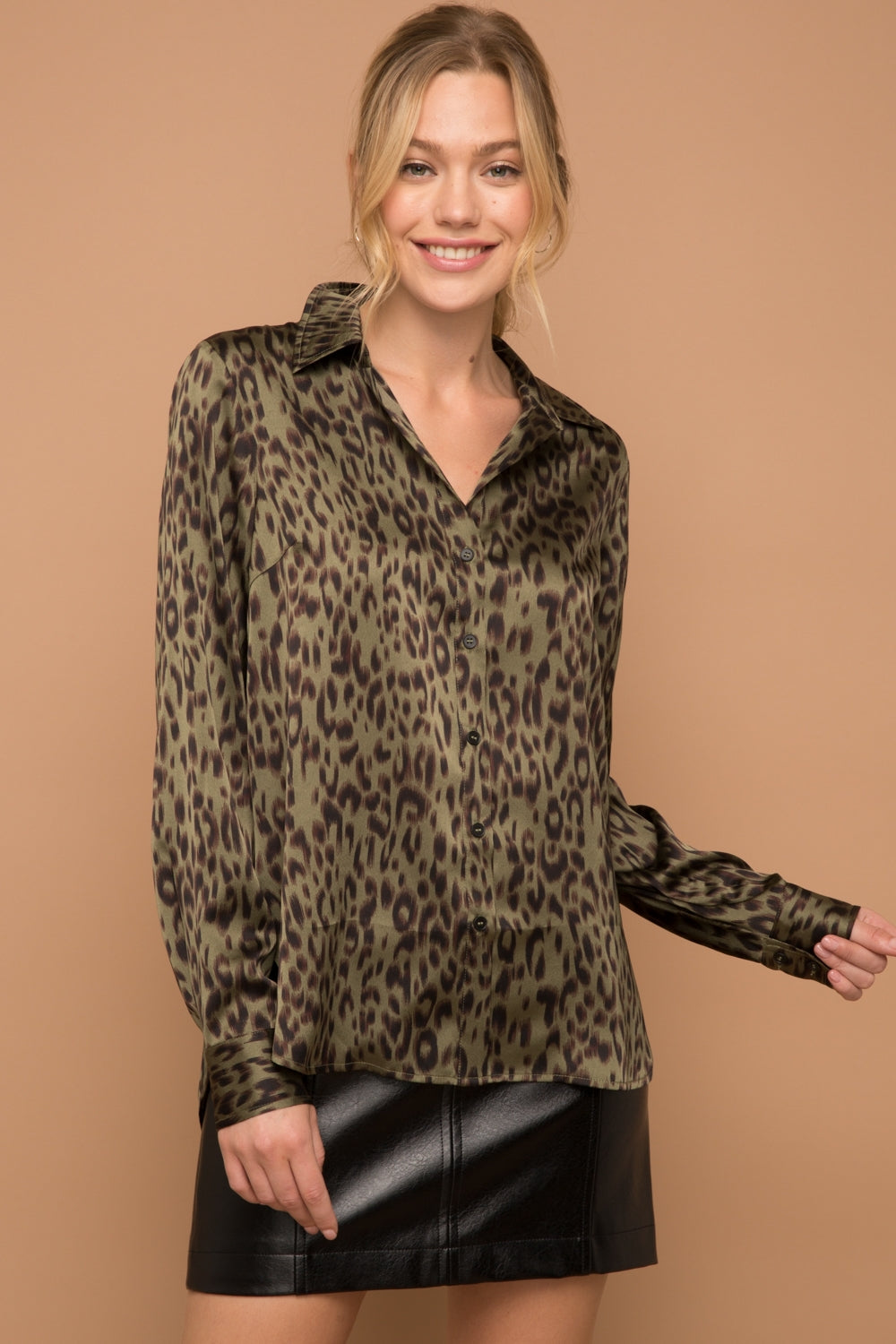 Leopard Satin Shirt