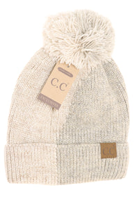 Two Tone Knit CC Beanie