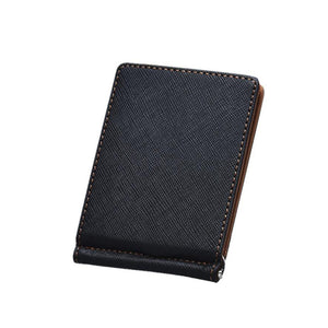 men clutch bags Leather Silver  Slim Wallets Black ID Credit Card Holder