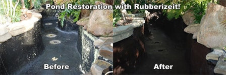Rubberizeit Dura-rubber pond coating Before & After
