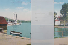Set of 4 reversible placemats, Vintage postcards boat scenes - Napperons, Cartes postales Promenades en bateau. Set A