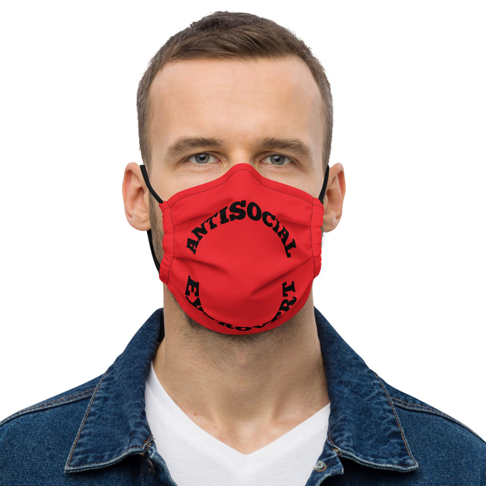 Anti Social Extrovert Red Premium face mask