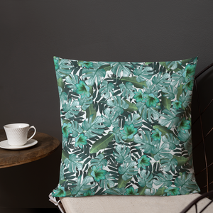 Green Floral Premium Pillow