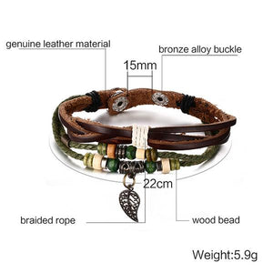 Brown Retro Style Genuine Leather Bracelet For Men