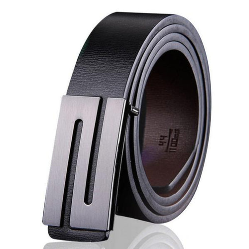 Contemporary Men's Leather Belt Featured in Black Genuine Leather