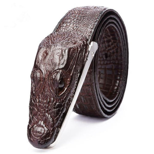Crocodile Style Genuine Leather Men's Belt - Haus of Leather Online Store