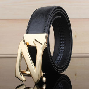 Genuine Leather Men's Fashion Belt Featuring Letter Detail With Automatic Buckle - 2 Colours Available - Haus of Leather