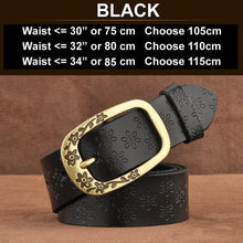 Ornate Genuine Leather Women's Fashion Belt Black