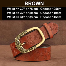 Ornate Genuine Leather Women's Fashion Belt Brown
