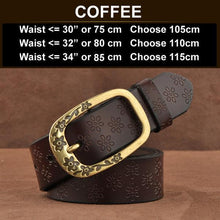 Ornate Genuine Leather Women's Fashion Belt Coffee