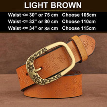 Ornate Genuine Leather Women's Fashion Belt Light Brown