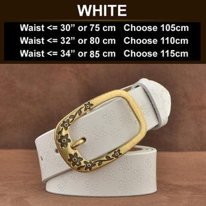 Ornate Genuine Leather Women's Fashion Belt White