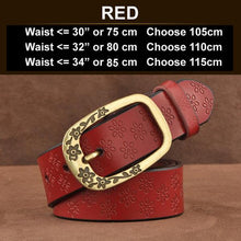 Red Ornate Genuine Leather Women's Fashion Belt