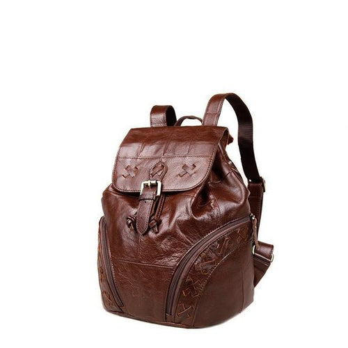 Women's Genuine Leather Backpack Brown
