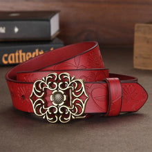 Women's Genuine Leather Floral Fashion Belt Red - Haus of Leather