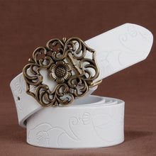 Women's Genuine Leather Floral Fashion Belt White - Haus of Leather