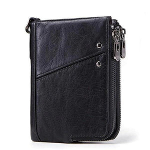 Compact leather wallet for men black