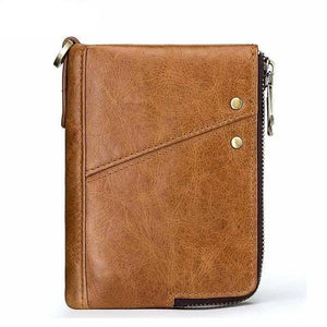 Compact leather wallet for men brown