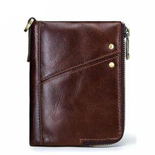 Compact leather wallet for men coffee