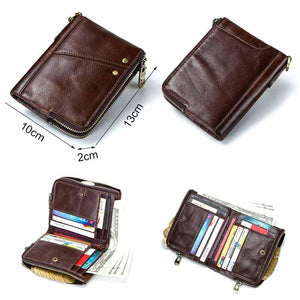 Compact leather wallet for men exterior and dimensions