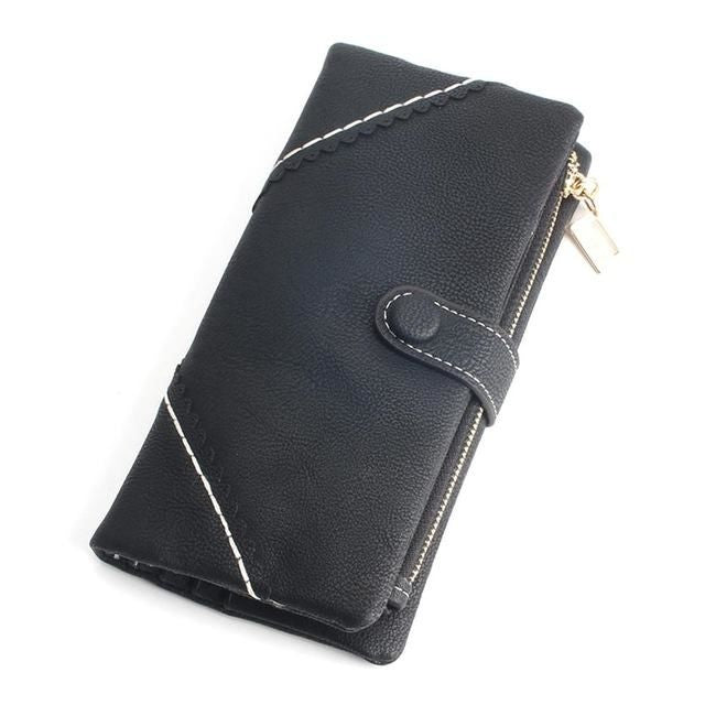 Exquisite Long Women's Leather Purse Featuring Versatile Fold Storage - 8 Colours Available Black Purses