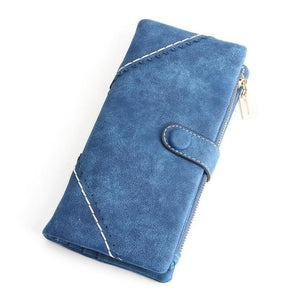 Exquisite Long Women's Leather Purse Featuring Versatile Fold Storage - 8 Colours Available Blue Purses