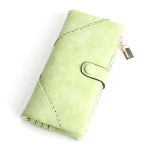Exquisite Long Women's Leather Purse Featuring Versatile Fold Storage - 8 Colours Available Green Purses