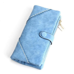 Exquisite Long Women's Leather Purse Featuring Versatile Fold Storage - 8 Colours Available Light Blue Purses